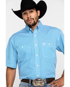 George Strait By Wrangler Men's Blue Star Geo Print Short Sleeve Western Shirt , Blue, hi-res