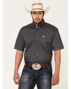 Rough Stock By Panhandle Men's Brown Geo Print Short Sleeve Western Shirt , Brown, hi-res