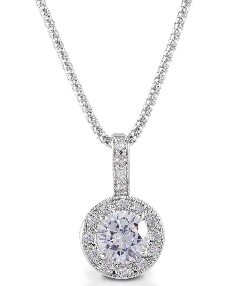 Kelly Herd Women's Bezel Set Drop Necklace , Silver, hi-res