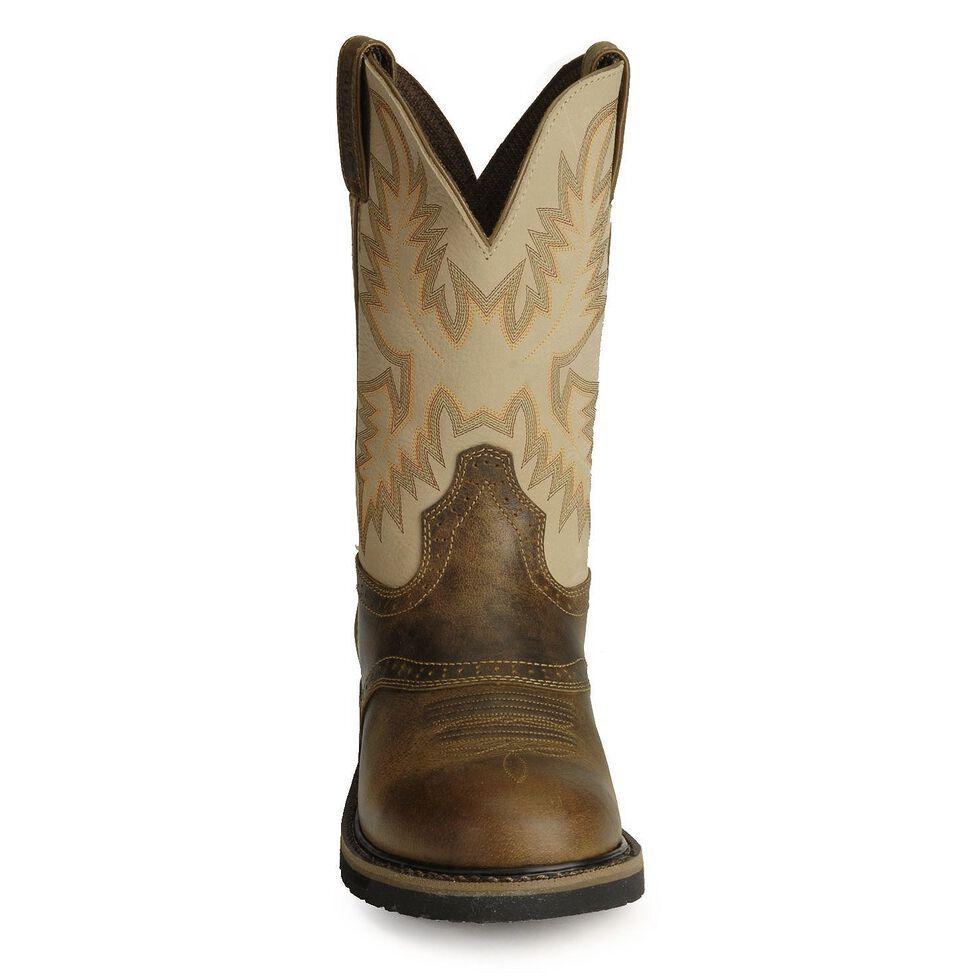 Justin Men's Stampede Superintendent Creme Work Boots - Round soft Toe, Brown, hi-res