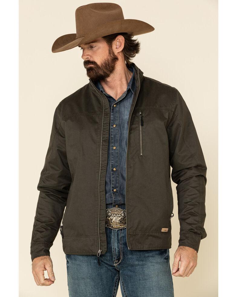 Powder River Outfitters Men's Olive Cotton Zip Front Jacket , Olive, hi-res
