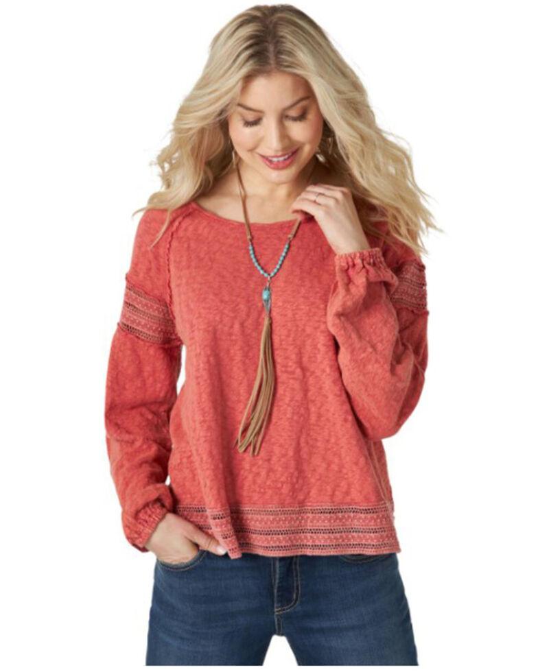 Wrangler Retro Women's Rust Crochet Slub Jersey Top , Rust Copper, hi-res