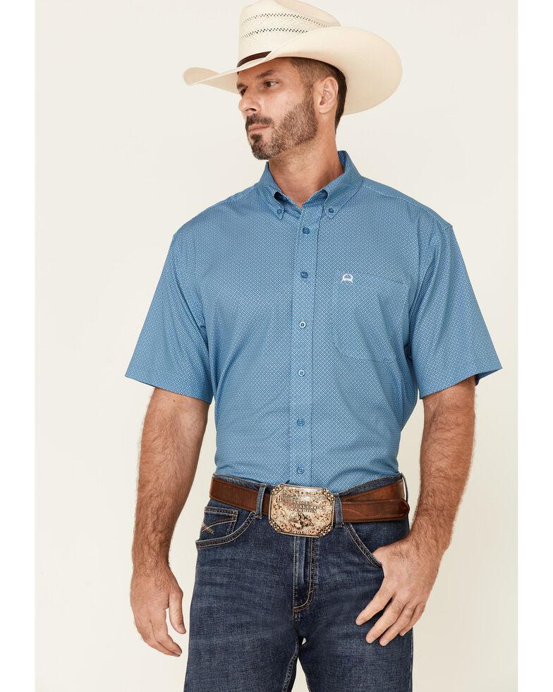 Cinch Men's Modern Fit Blue Geo Print Short Sleeve Button-Down Western Shirt , Blue, hi-res