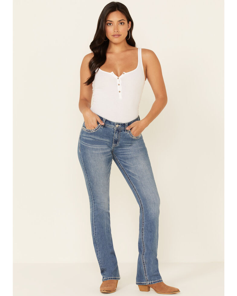 Grace in LA Women's Horseshoe Flower Bootcut Jeans, Blue, hi-res