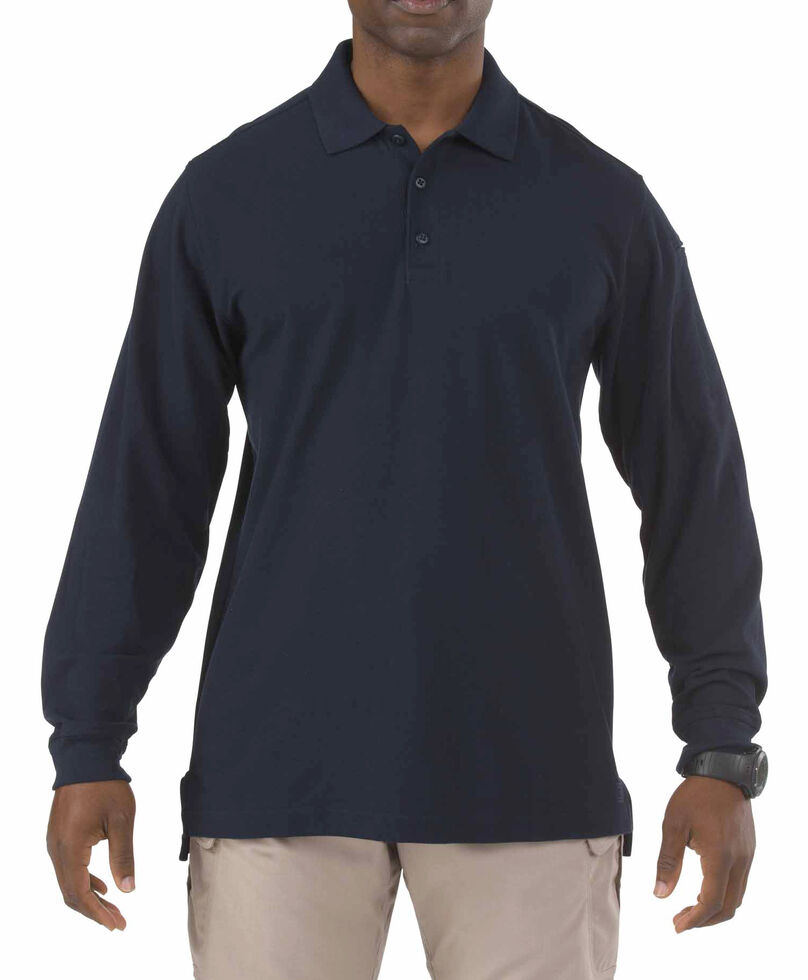 5.11 Tactical Utility Long Sleeve Polo Shirt - 3XL, Navy, hi-res