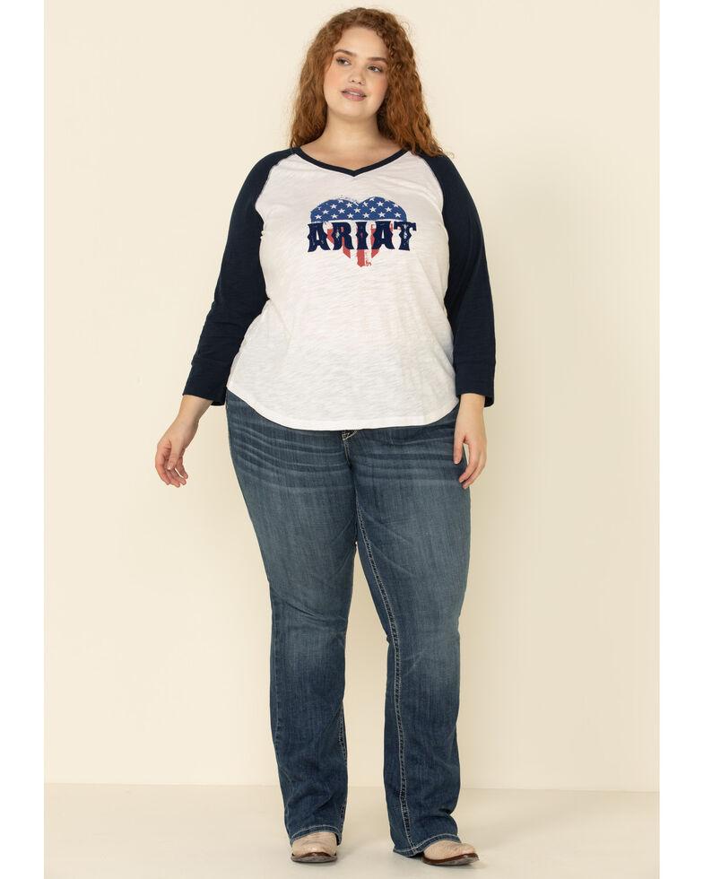 Ariat Women's American Love Tee - Plus, White, hi-res