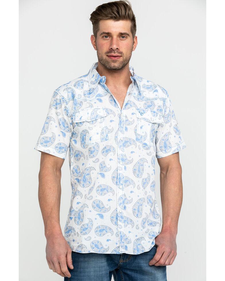 Cowboy Hardware Men's Double Paisley Print Short Sleeve Western Shirt, Cream, hi-res