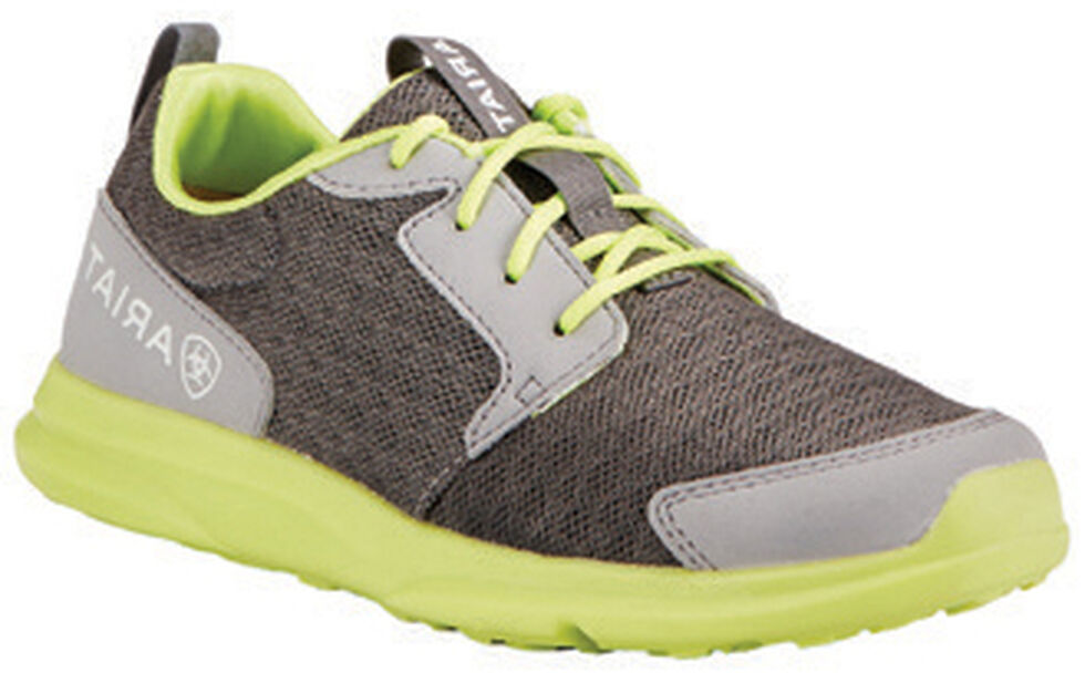 Ariat Youth Boys' Fuse Grey Green Mesh Shoes, Grey, hi-res