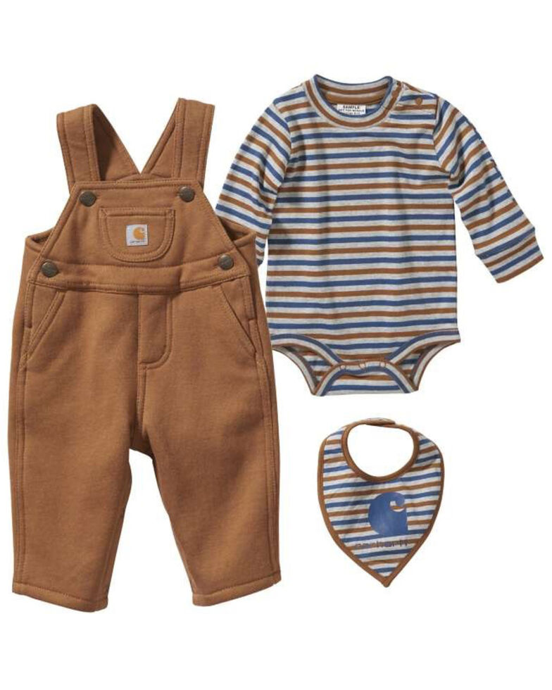 Carhartt Infant Boys' Three Piece Overall Gift Set , Brown, hi-res