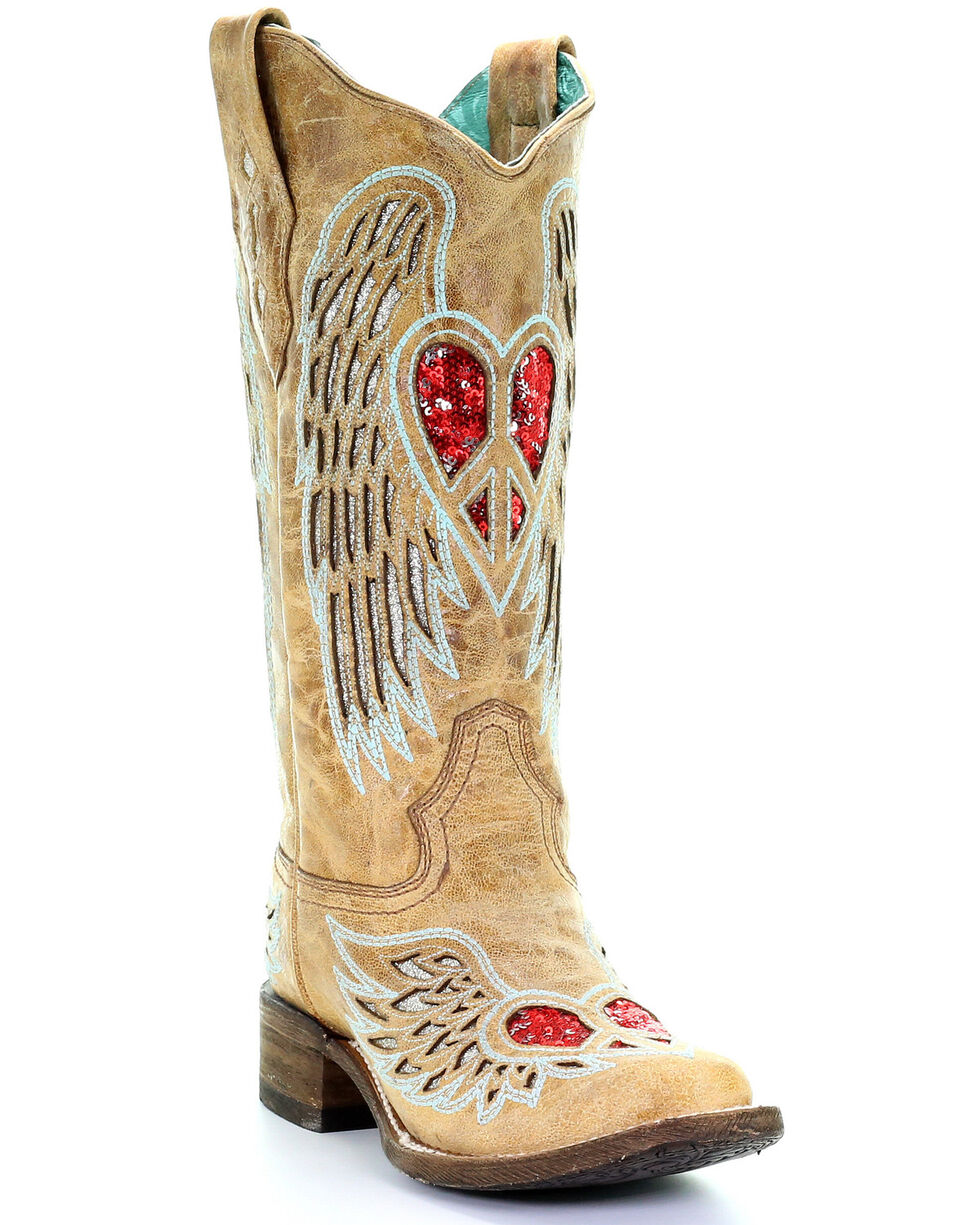 Corral Women's Heart & Wings Glitter Western Boots - Square Toe, Sand, hi-res