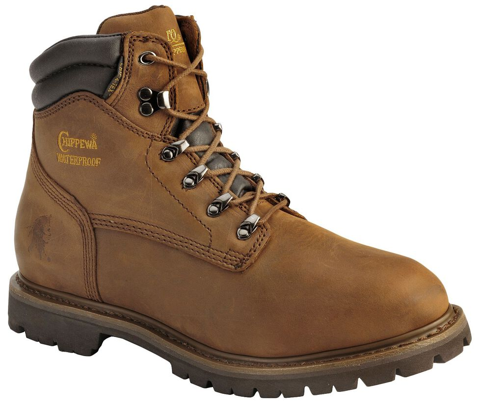 """Chippewa Waterproof & Insulated Tough 6"""" Lace-Up Work Boots - Steel Toe, Bark, hi-res"""