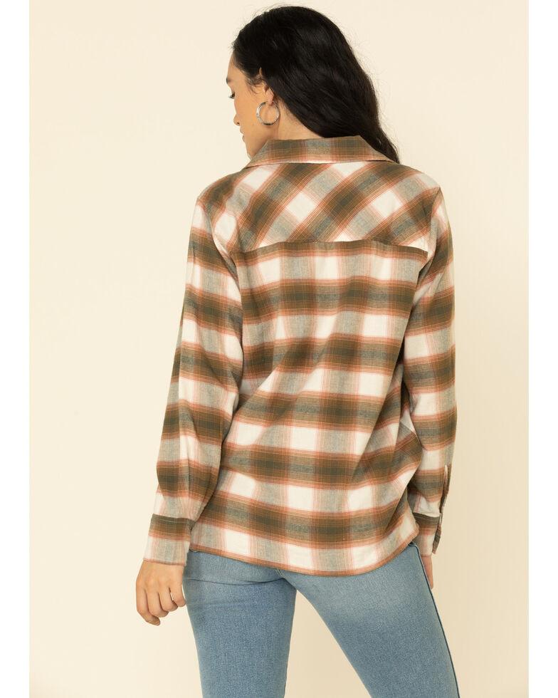PJ Salvage Women's Rust Plaid Hi-Low Western Flannel Shirt , Rust Copper, hi-res