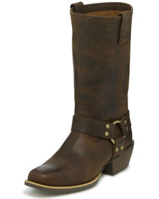Justin Women's Heritage Buffalo Moto Boots - Square Toe, Brown, hi-res