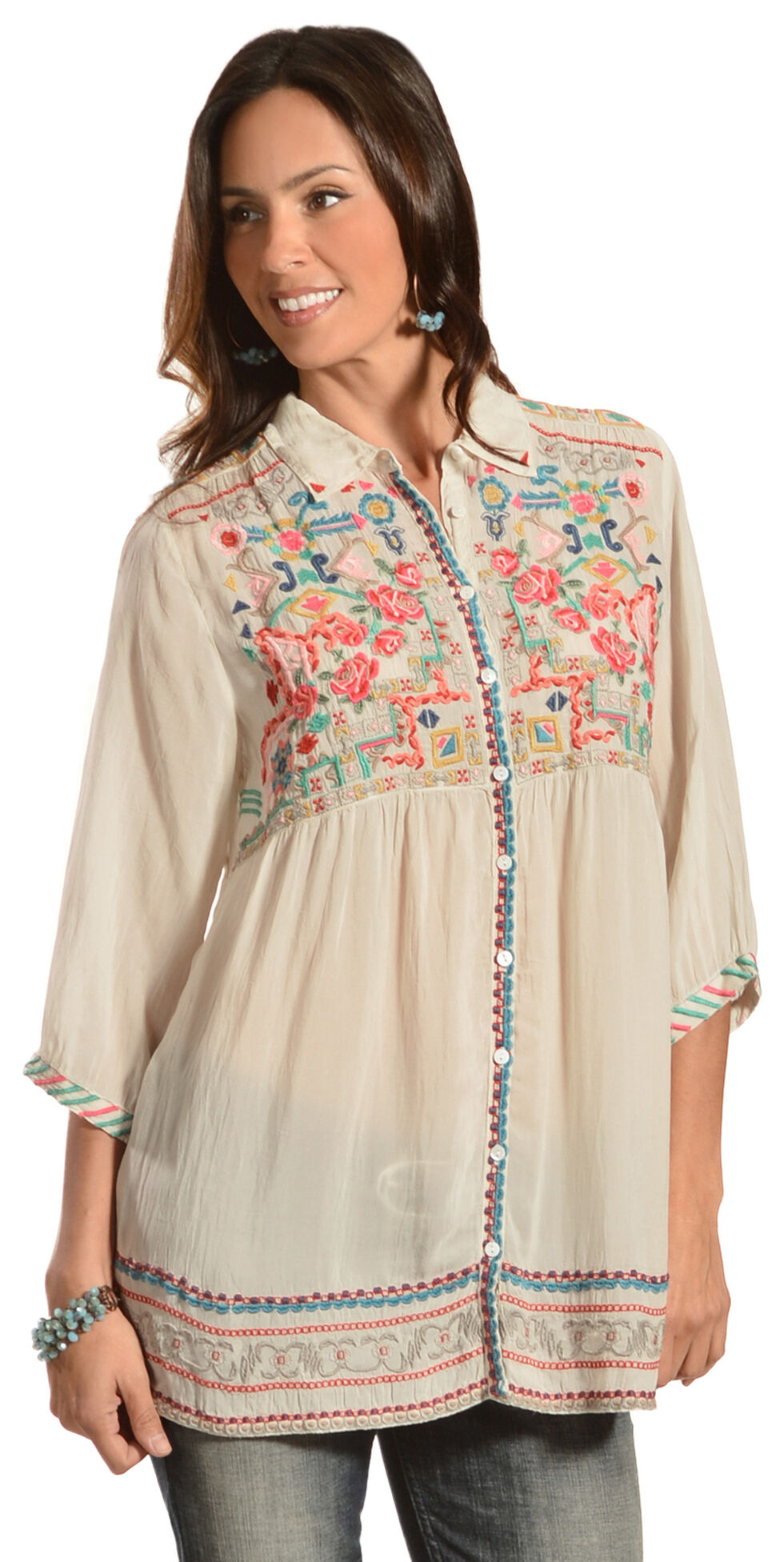 Johnny Was Women's Carpe Tunic, Eggshell, hi-res