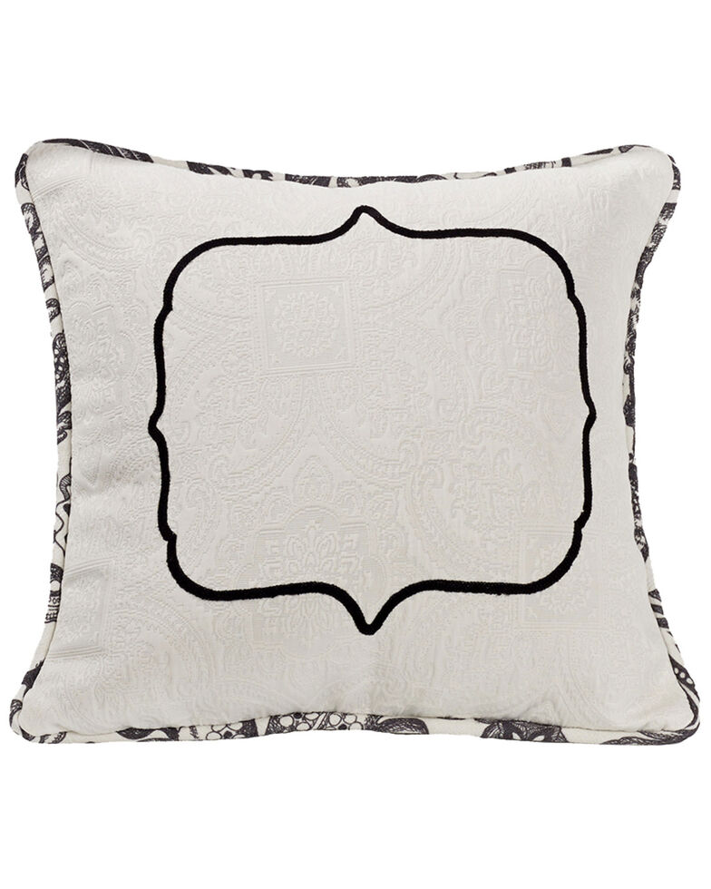 HiEnd Accents Augusta Matelasse Pillow with Embroidery Detail, Black, hi-res