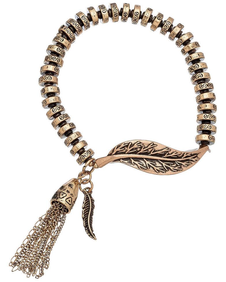 Howard's Women's Bronze Leaf & Tassel Stretch Bracelet, Medium Brown, hi-res