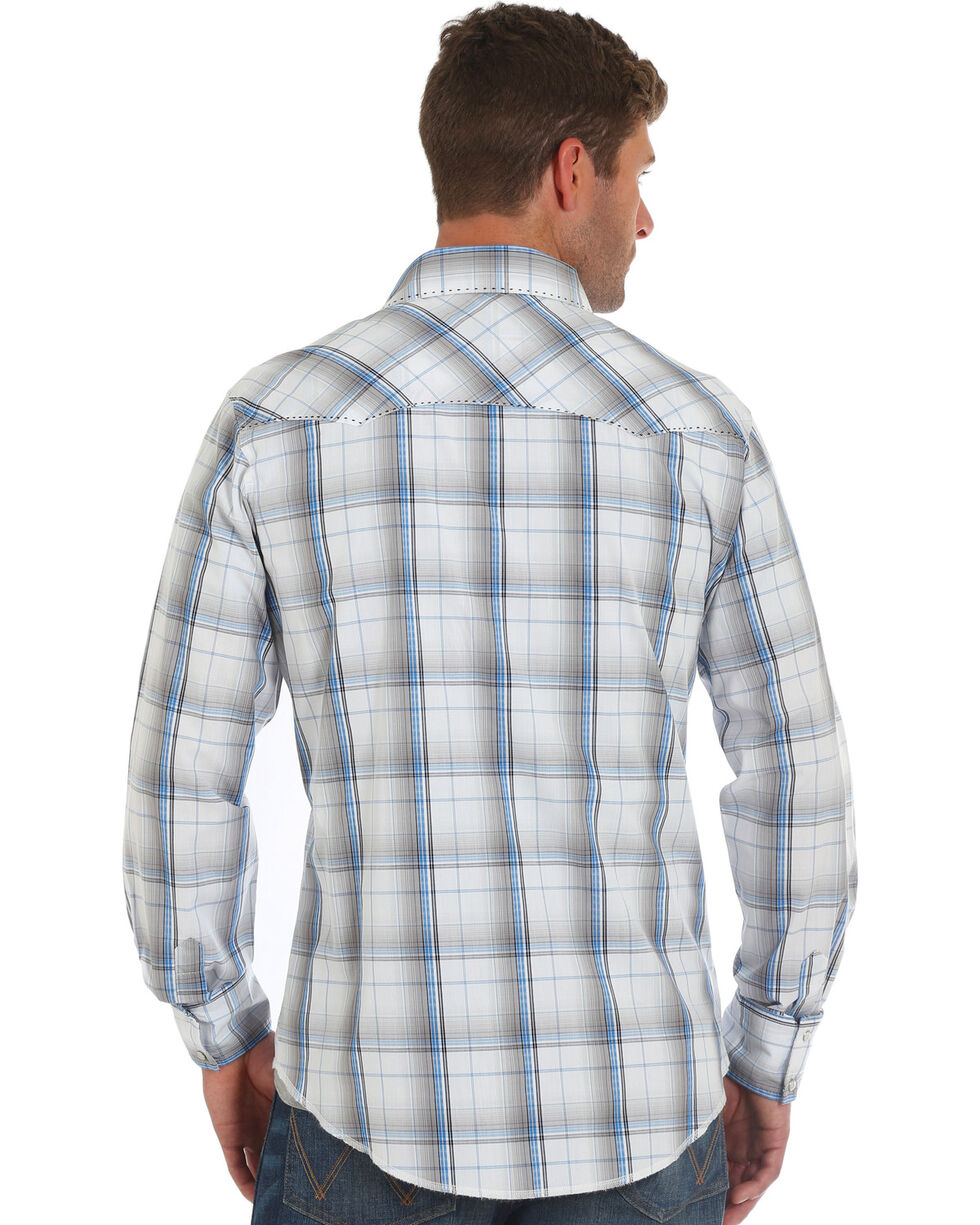 Wrangler Men's Grey Fashion Plaid Western Shirt , Grey, hi-res