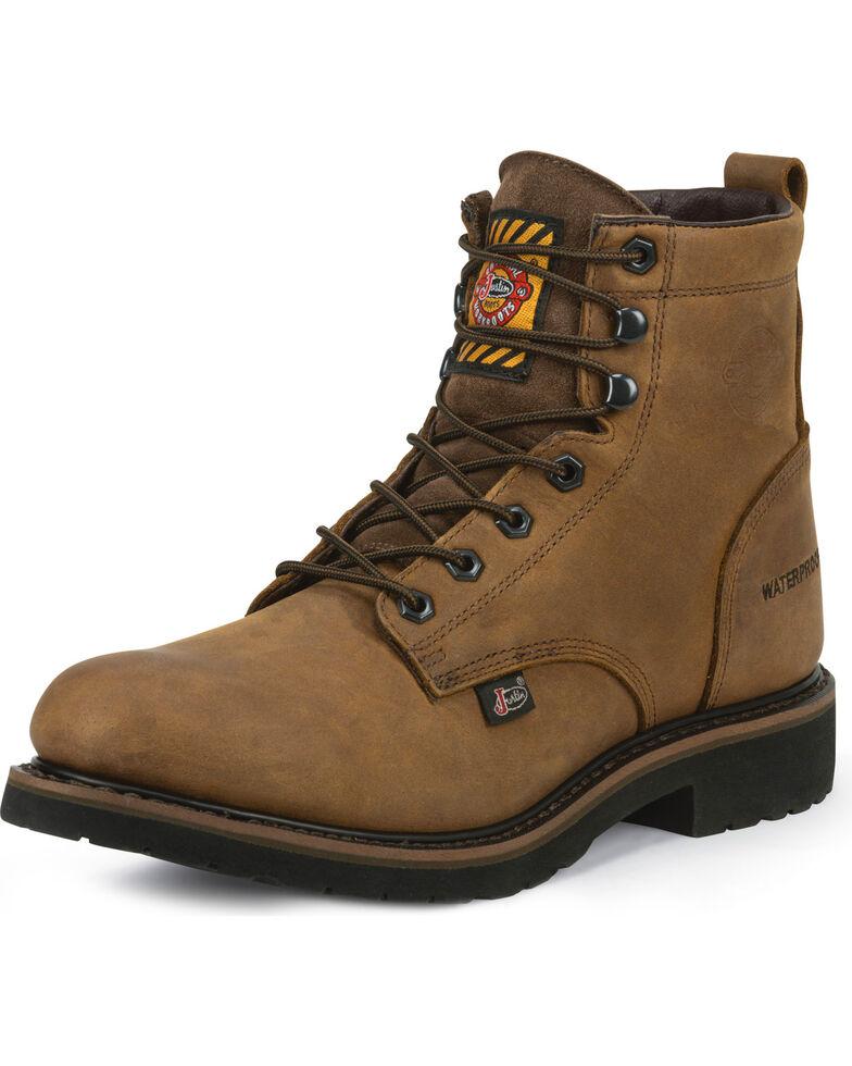 "Justin Men's Drywall Waterproof 6"" Work Boots - Soft Toe, Brown, hi-res"