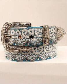 Angel Ranch Women's Lace & Turquoise Western Belt, Turquoise, hi-res
