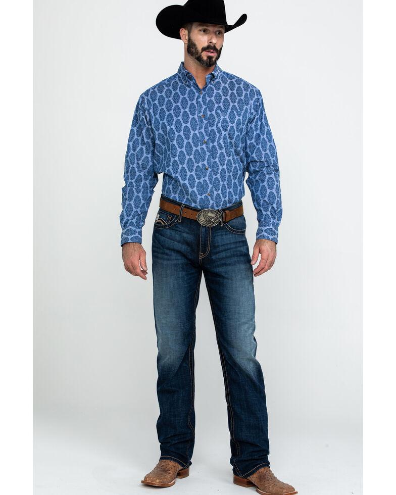 Ariat Men's Ajax Stretch Paisley Print Long Sleeve Western Shirt , Blue, hi-res