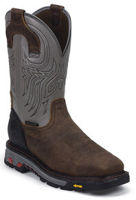 Justin Men's Tanker Silver EH Waterproof MetGuard Work Boots - Steel Toe, Timber, hi-res