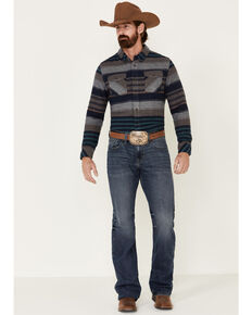 United By Blue Men's Brownstone Responsible Striped Long Sleeve Western Flannel Shirt , Navy, hi-res