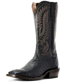 Ariat Men's Showman Black Full Quill Ostrich Western Boots - Wide Square Toe, Black, hi-res