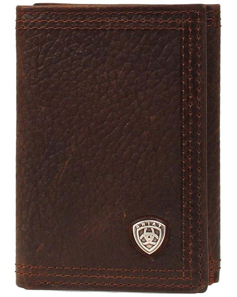 Ariat Logo Concho Tri-fold Wallet, Brown, hi-res