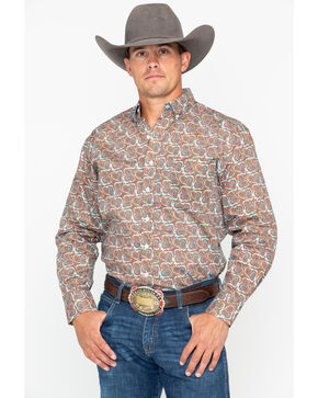Resistol Men's Wild West Print Long Sleeve Western Shirt , Multi, hi-res