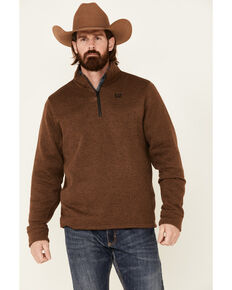 Cinch Men's Solid Brown Sweater Knit 1/4 Zip-Front Pullover , Brown, hi-res