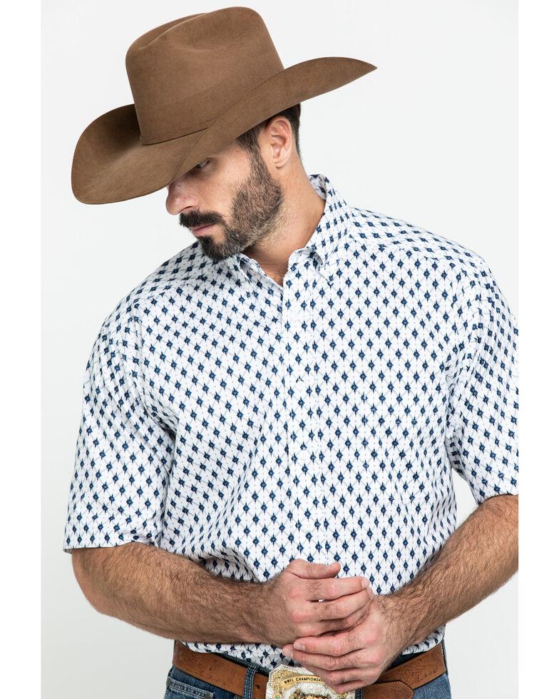 Tuf Cooper Men's White Stretch Poplin Print Short Sleeve Western Shirt , White, hi-res