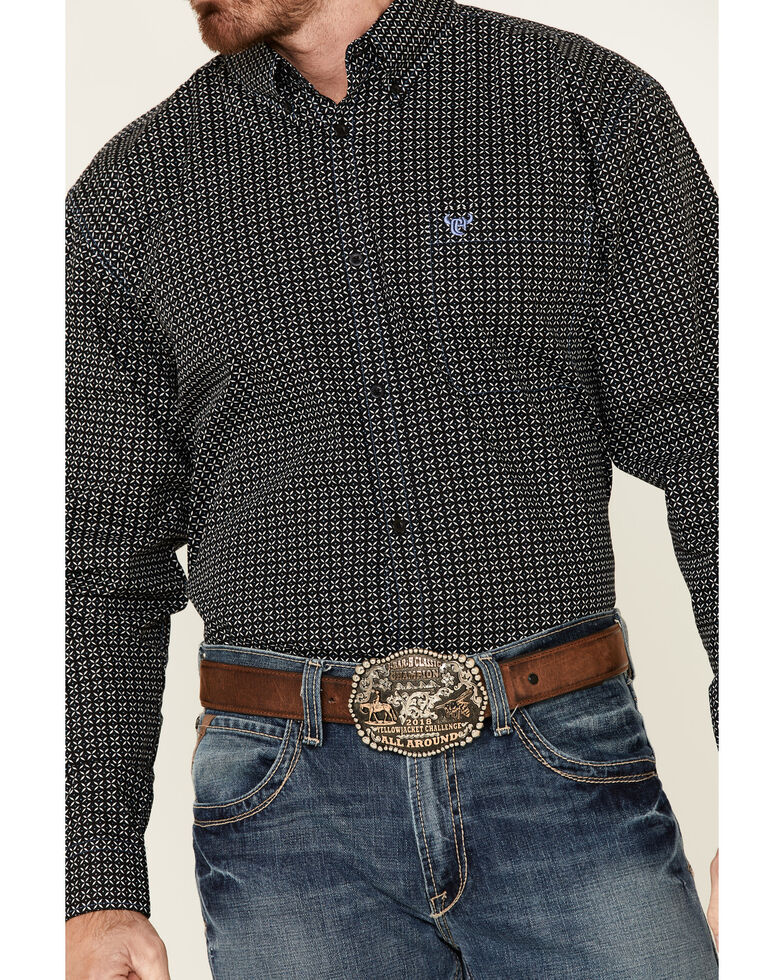 Cowboy Hardware Men's Black Geo Print Long Sleeve Button-Down Western Shirt , Black, hi-res