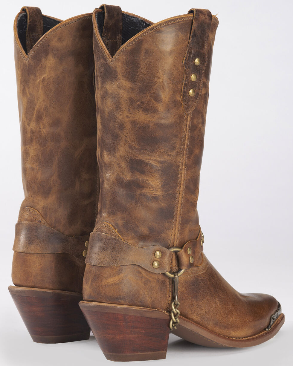 Abilene Distressed Tan Harness Cowgirl Boots - Round Toe, Tan, hi-res