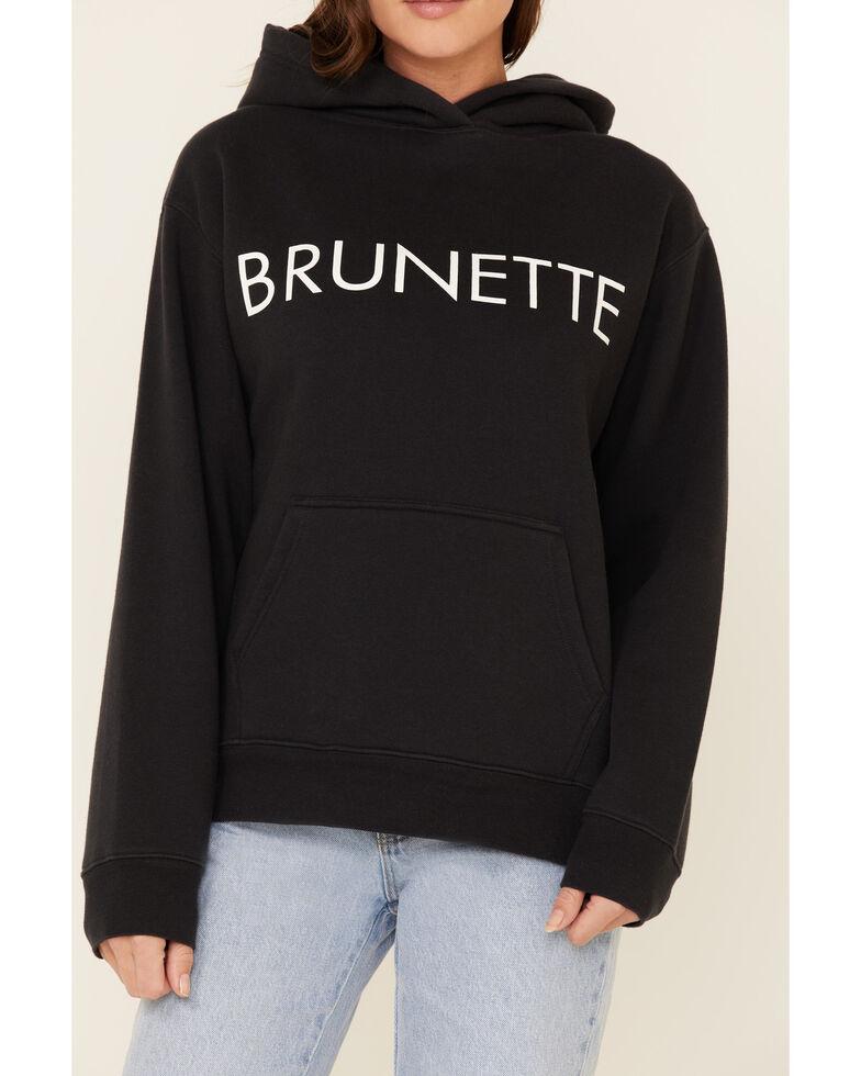 Brunette The Label Women's Black Brunette Logo Graphic Hooded Sweatshirt , Black, hi-res