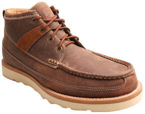 Twisted X Oiled Brown Leather Boots - Moc Toe , Peanut, hi-res
