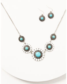 Prime Time Jewelry Women's Silver Turquoise & White Concho Jewelry Set, Silver, hi-res