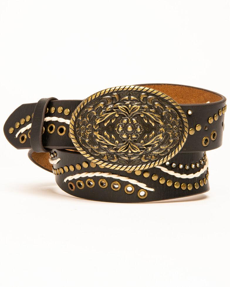 Shyanne Women's Brown Distressed Studded Swirl Belt , Bronze, hi-res