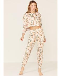 Peach Love Women's Green Cropped Splatter Print Sweatpants, Tan, hi-res