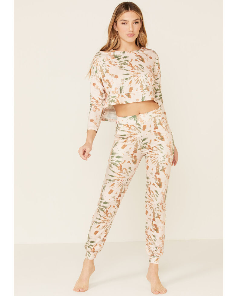 Peach Love Women's Green Cropped Splatter Print Sweatpants, Tan, hi-res