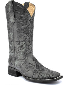 Circle G Women's Black Embroidered Boots - Wide Square Toe , Black, hi-res