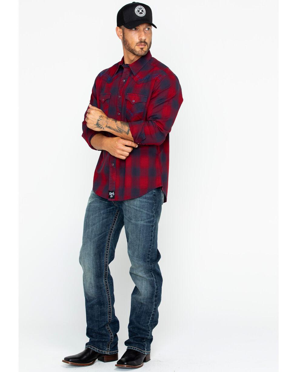 Rock 47 by Wrangler Men's Plaid Long Sleeve Western Shirt , Red, hi-res