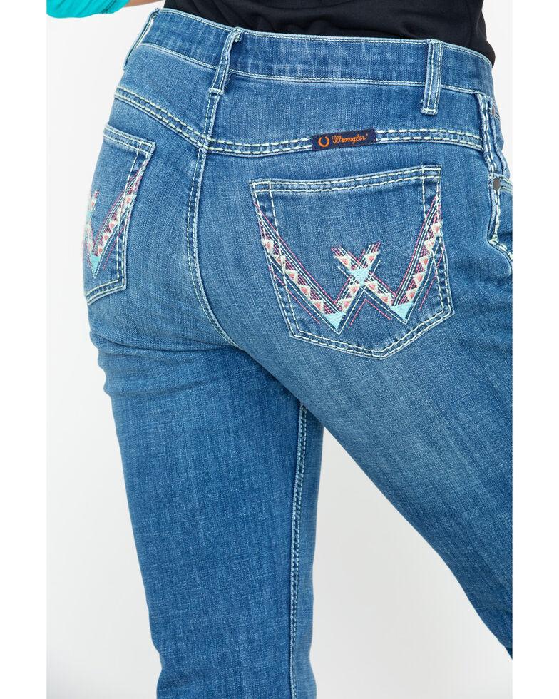 Wrangler Women's Shiloh Ultimate Riding Low Aztec Pocket Boot Jeans , Medium Blue, hi-res