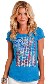 Panhandle Slim Women's Blue American Flag Bandana Print Short Sleeve Shirt , Blue, hi-res