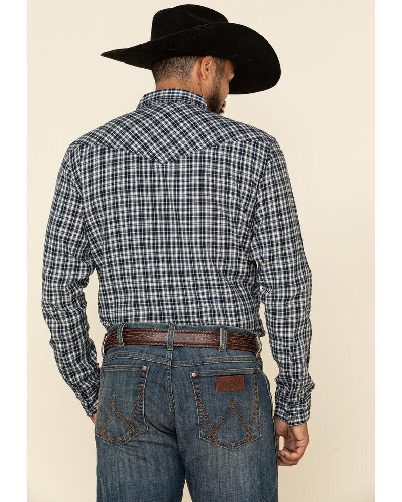 Cody James Men's Ash Small Plaid Long Sleeve Western Flannel Shirt , Navy, hi-res