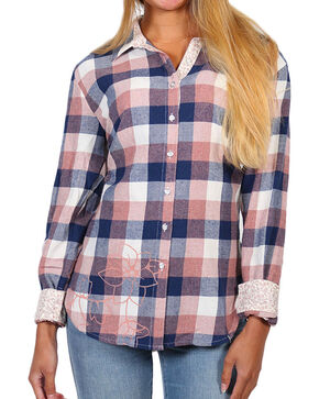 White Crow Women's Pink Floral Plaid Long Sleeve Shirt , Pink, hi-res