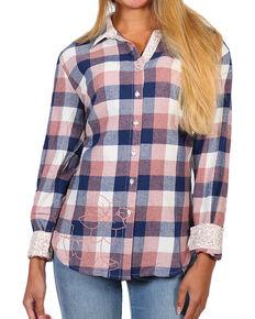 0bae0420 White Crow Women's Pink Floral Plaid Long Sleeve Shirt