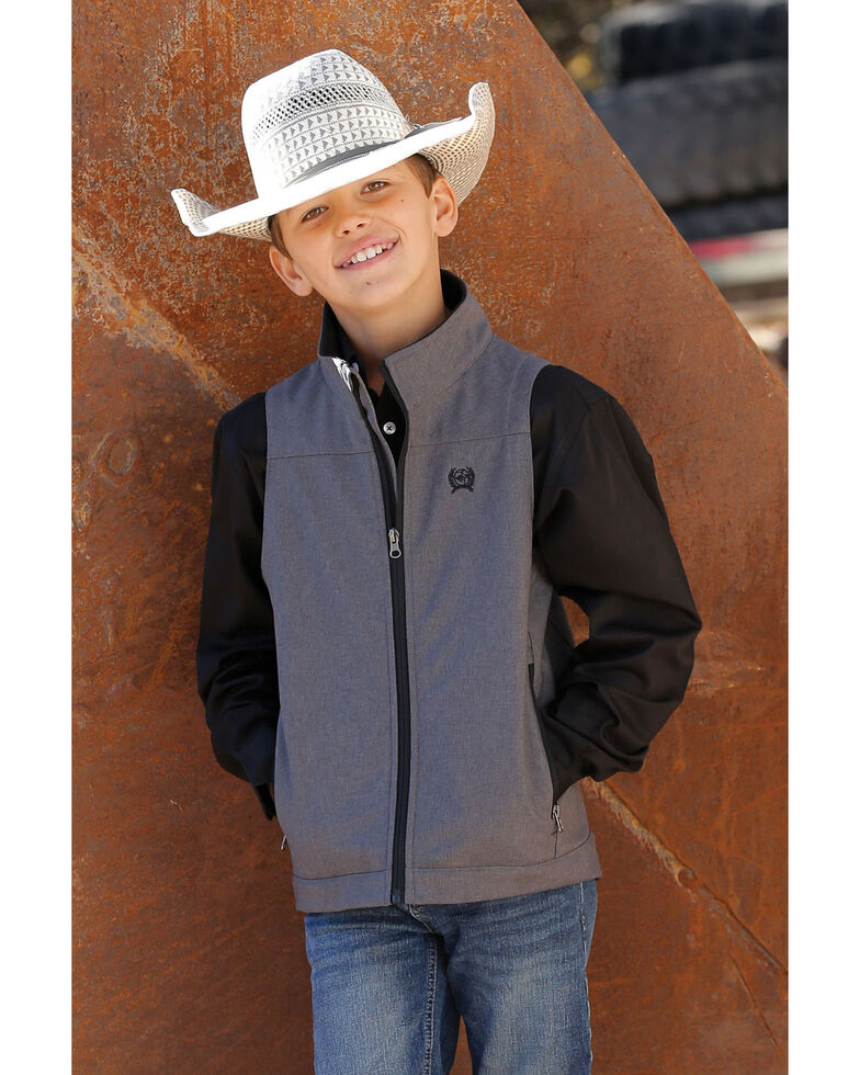 Cinch Boys' Textured Bonded Zip-Up Vest , Heather Grey, hi-res