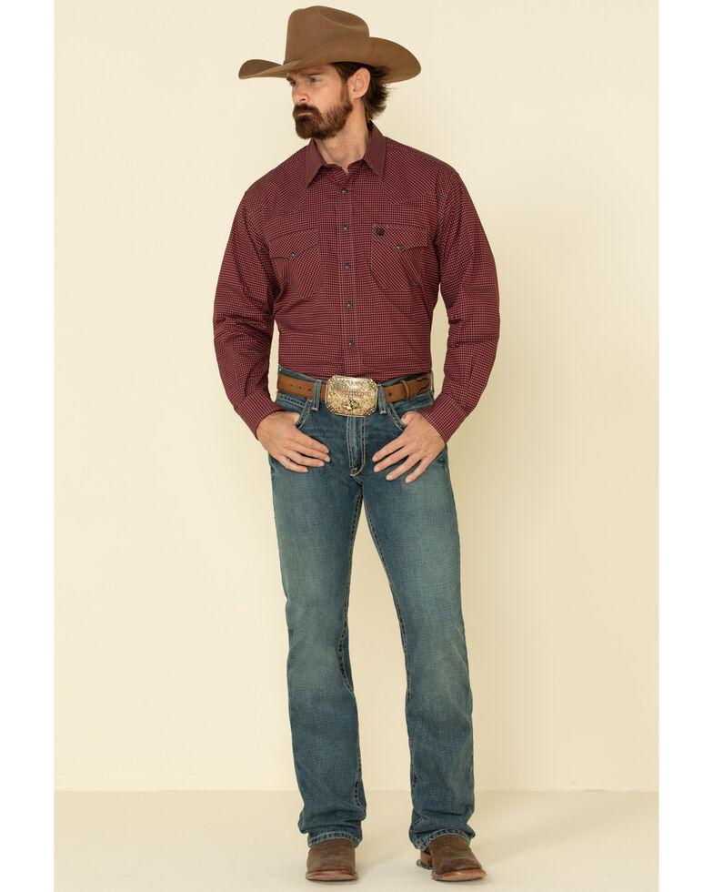 Cinch Men's Burgundy Small Geo Print Snap Long Sleeve Western Shirt , Burgundy, hi-res