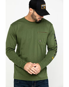 Ariat Men's Green Rebar Workman Long Sleeve Work Shirt - Big & Tall , Green, hi-res