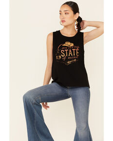 Cut & Paste Women's Country State Of Mind Graphic Tank Top, Black, hi-res